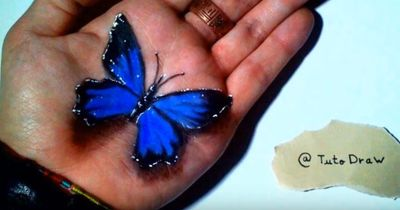 At first I thought he held a butterfly in his hand, but a closer look made me gasp!