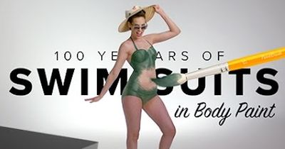 100 years of swimwear with body paint is a MUST WATCH!